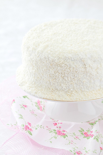 gorgeous strawberry pink cake coated with coconut