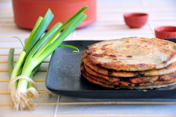 Chinese Scallion (Green Onion) Pancakes With Soy-Ginger Dipping Sauce ...
