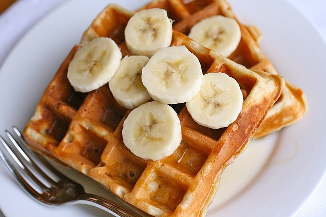 Banana Bread Waffles - with yeast, must rise overnight! But yummy