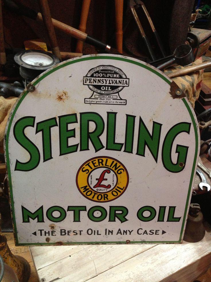 Sterling Motor Oil Sign Old Metal Oil Signs Pinterest