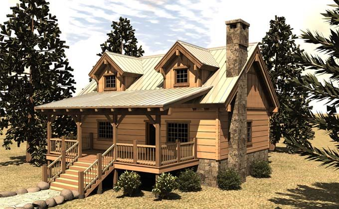 Small Cabin Floor Plan Covered Porch