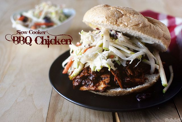 Slow Cooker BBQ Chicken. I used only boneless skinless thighs. I didn ...