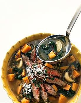 Lentil and Roasted Garlic Soup with Seared Steak | Recipe