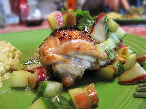 cucumber salsa spicy chicken thighs with rhubarb cucumber salsa recipe ...