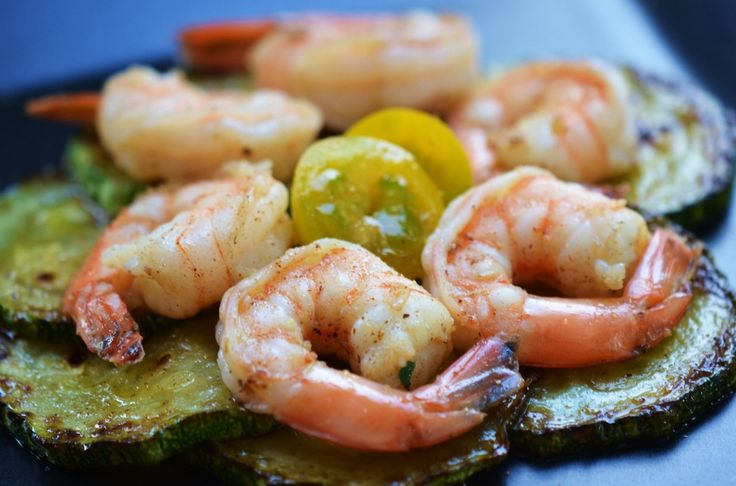 ... zucchini with shrimp, and golden cherry tomatoes from the garden