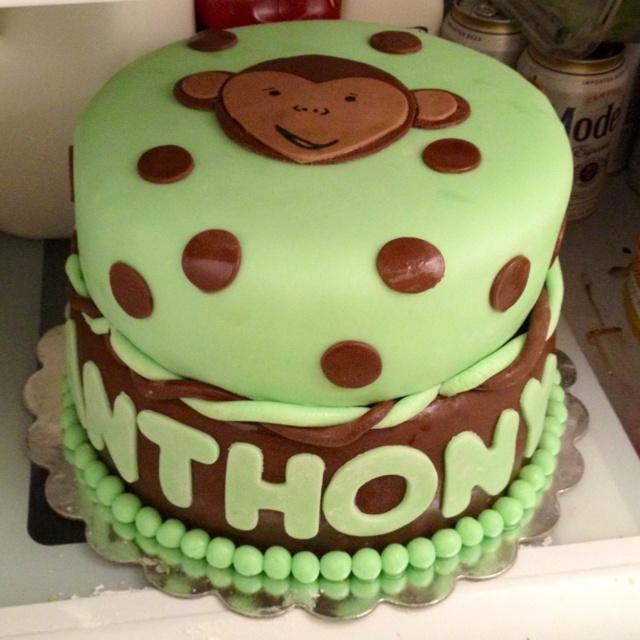 Two tier fondant Monkey Cake  first birthday cakes  Pinterest