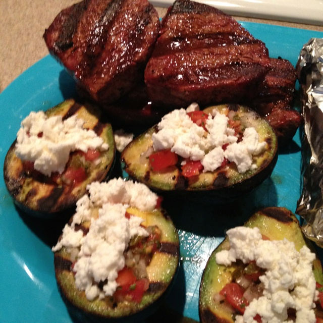 Filets with grilled Avocado, homemade pico and goat cheese ...