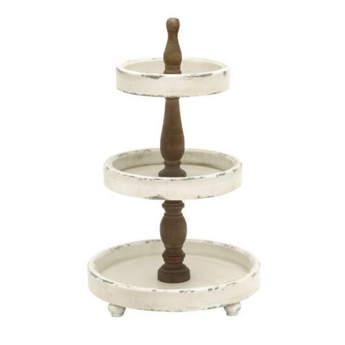 French Country 3 Tier Wood Brasserie Tray Stand White