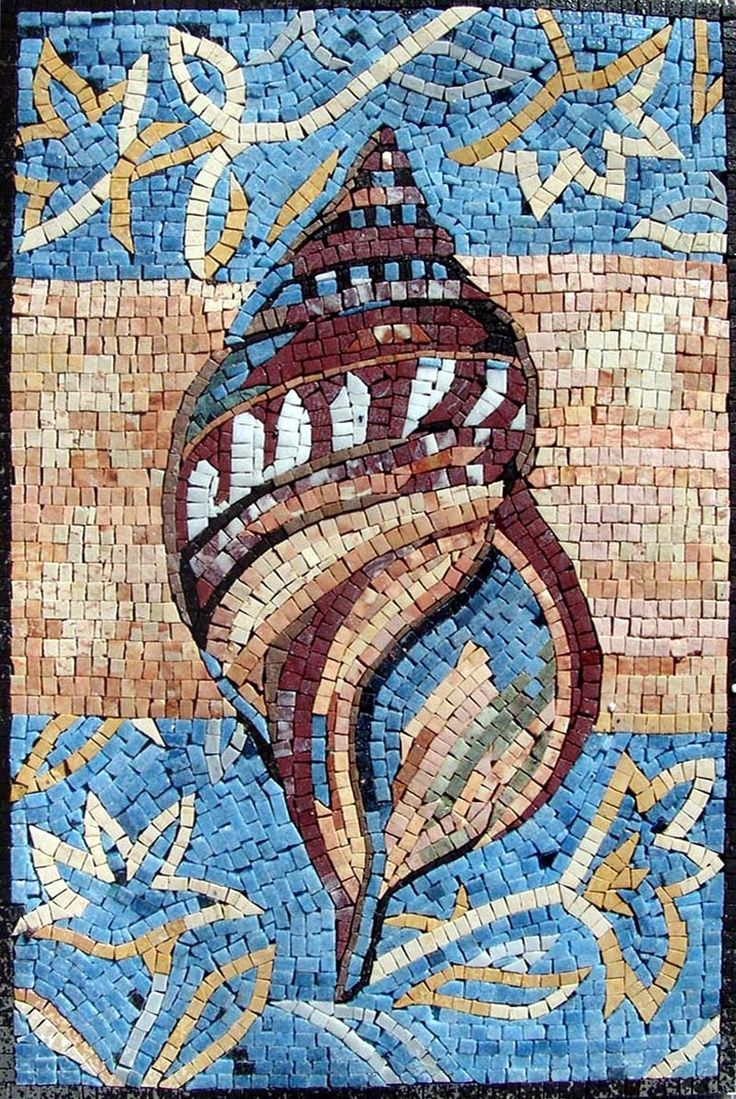 Mosaic sea shell mosaic mosaics pinterest for Seashell mosaic art