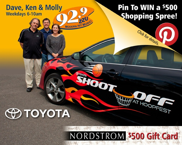 Re-Pin the official #SpokaneHoopfest #ToyotaCamrySE to win a @Nordstrom Shopping spree! @-Tag your friends...spread the word...