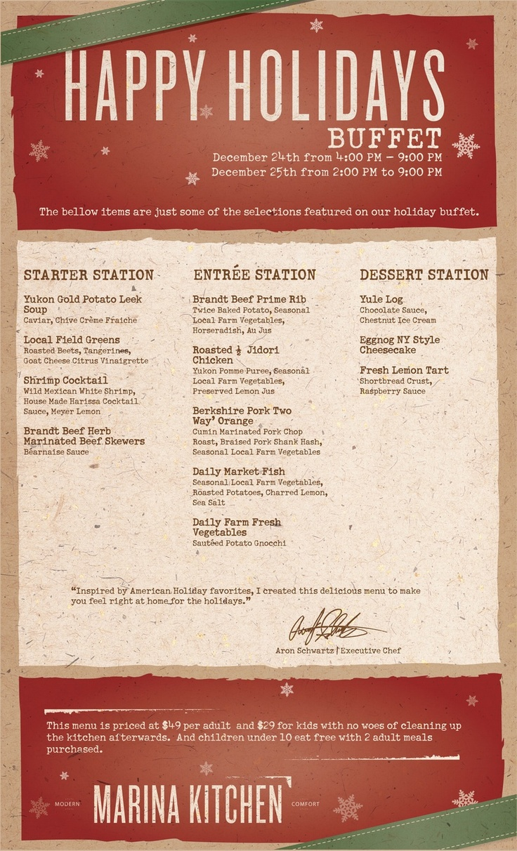 christmas buffet menu hotel
