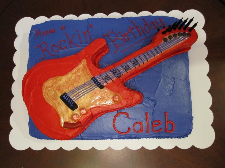 Caleb's 6th Birthday. Rock~n~Roll Guitar Cake