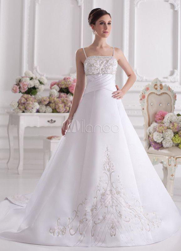 Robe de mariée A-ligne blanche en satin cache-coeur à traîne courte ...