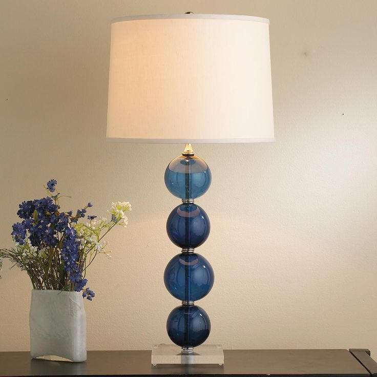 recycled glass ball table lamp available in 4 colors. Black Bedroom Furniture Sets. Home Design Ideas