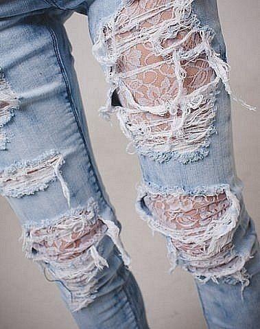Кружевные заплатки на джинсы