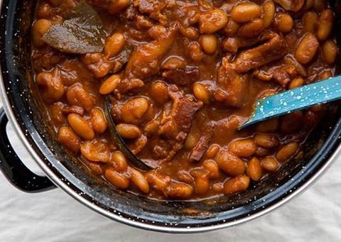 Root Beer Baked Beans & Bacon 4 slices bacon 6 onions, chopped 2 ...