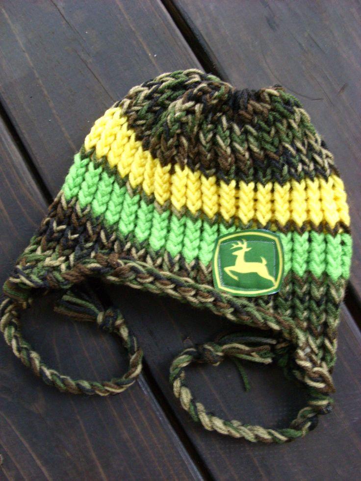 Deere Infant Hat Crochet Pattern : Newborn-Child Knitted Camo/Green/Yellow John Deere ...