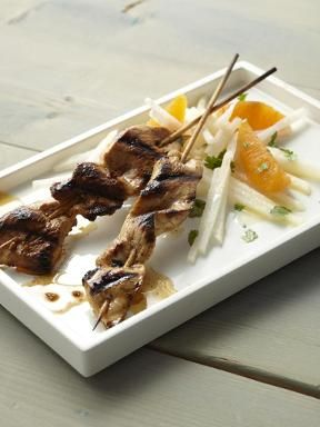 Chipotle Chicken or Shrimp Skewers with Jicama-Orange Salad