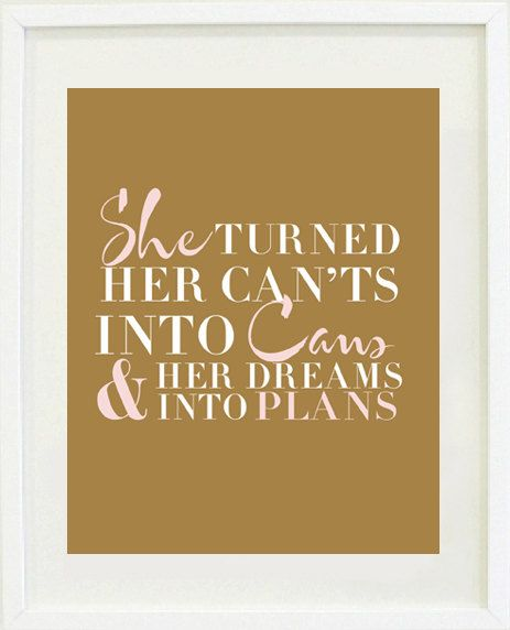 "Print Inspirational: 8 ""X 10"" Inspirational print, typography, office decor, bedroom decor, girls bedroom decor"