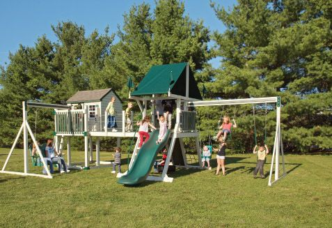 Pin by cathy hagerman on playhouse swing pinterest for Wooden swing set with bridge