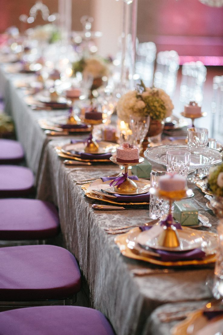 Purple And Gold Wedding Table Setting Weddings Pinterest