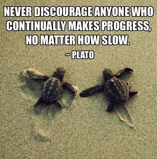 Never discourage anyone who makes progress, no matter how slow.