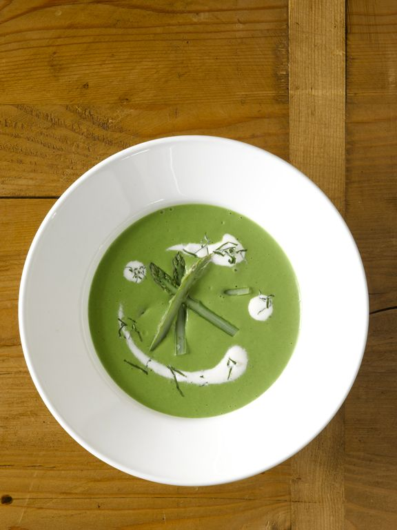 Chilled Asparagus Soup with Chervil Cream from new book, Plats du Jour ...