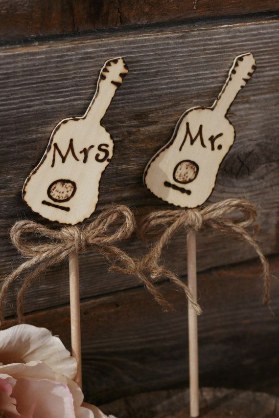 Shabby Chic Guitar Wedding Cake Topper Mr Amp Mrs Or Can Be Personalize