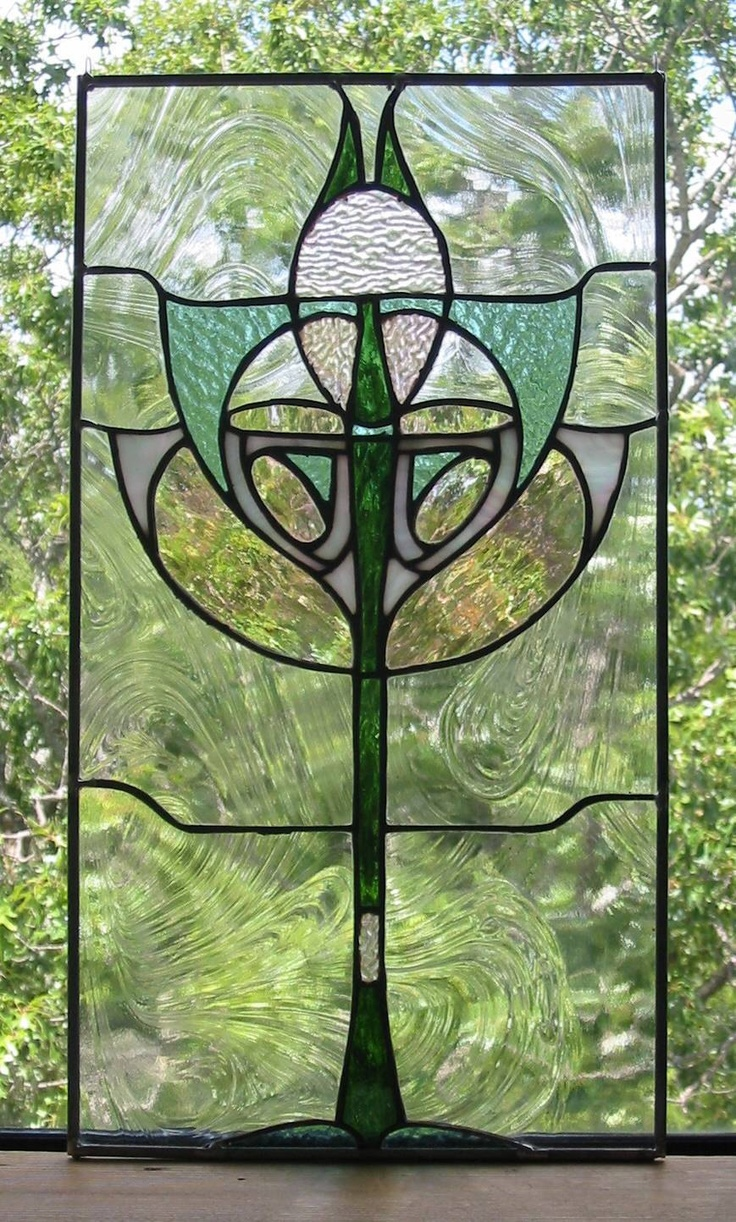 Art deco stained glass window panel stained glass for Art deco glass windows