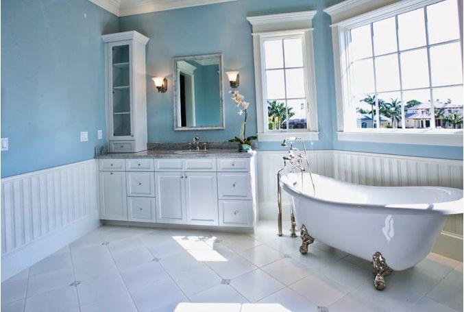 Wainscot bathroom diy house ideas pinterest for Bathrooms with wainscoting photos