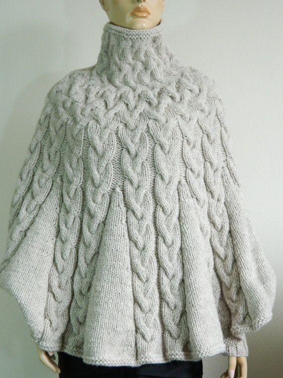 Knitting Pattern For Poncho With Sleeves : Hand Knit Turtleneck Poncho with sleeves from Alpaca blend ...