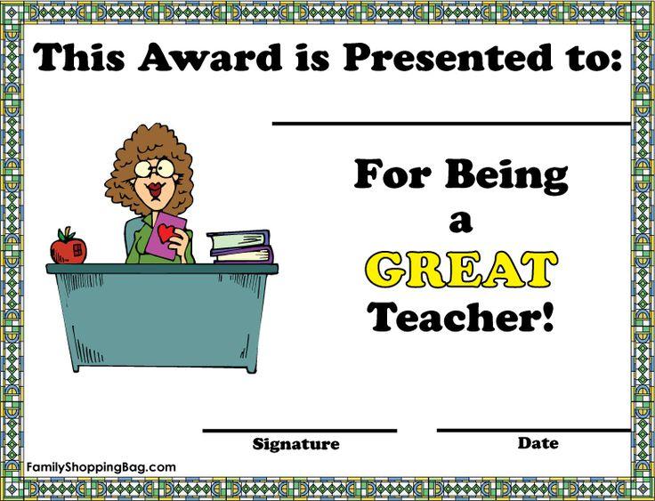Printable Award Certificates for Teachers | Teacher Award - Woman ...
