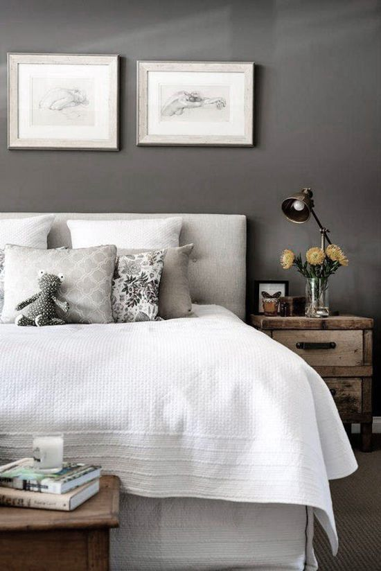 ♅ Dove Gray Home Decor ♅   welcoming bedroom in gray and white