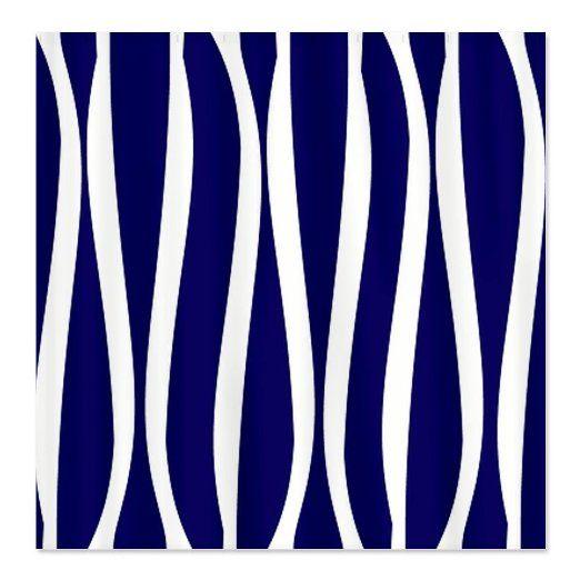 Navy white waves shower curtain