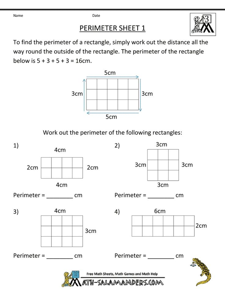 Perimeter of a rectangle worksheet 6th grade