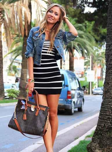Black and White Stripe Mini Dress and Blue Coat Jacket