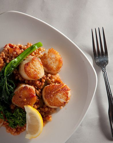 red pepper with israeli couscous seared scallops with israeli couscous ...