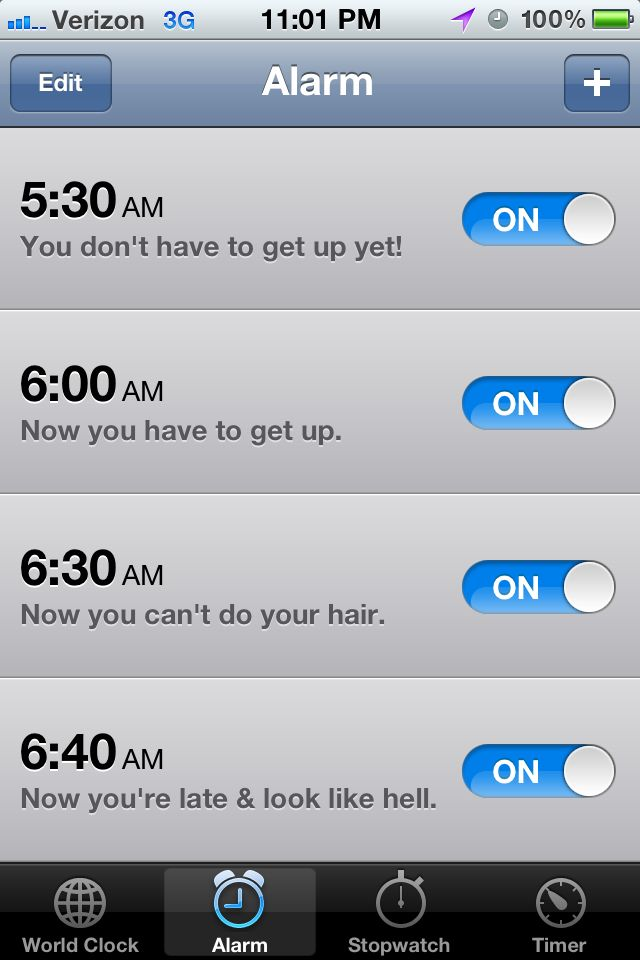 Oh Mu Gawd! This is what my alarms look like!