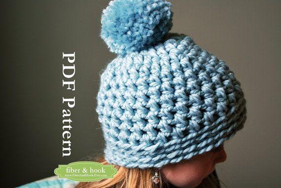 CROCHET PATTERN - Chunky Pom Pom Beanie Crochet Pattern ...