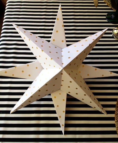 Diy paper star christmas tree topper handmade christmas for Diy paper stars