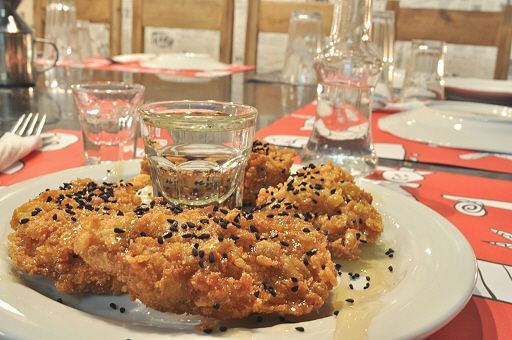 Fried Mastelo breaded in oat mill, drizzle with honey and sprinkle ...