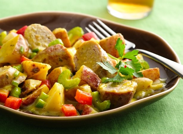 Warm Honey Mustard Potato Salad with Sausages | Recipe