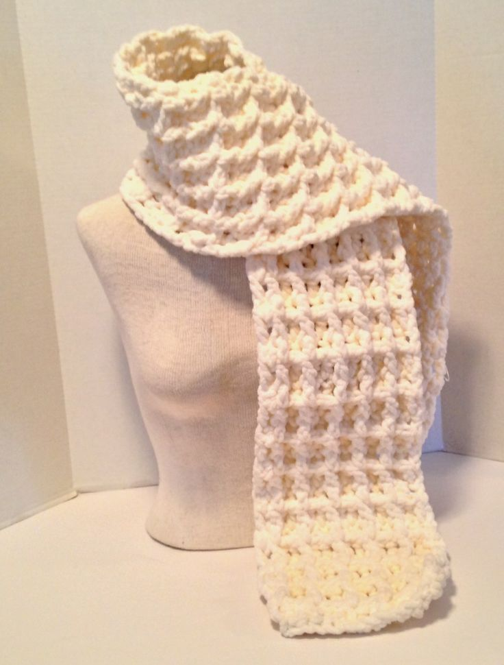 Crochet Pattern Chunky Waffle Stitch Scarf Using Bernat Baby Blanket ...