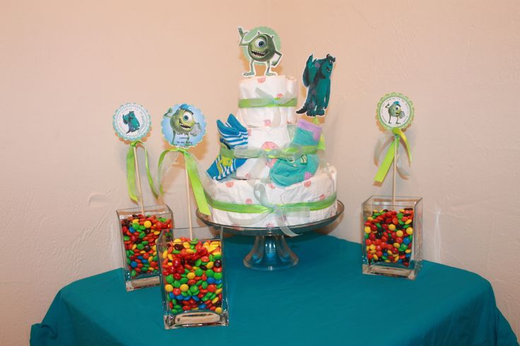 monster inc baby shower diaper cake and candy centerpieces