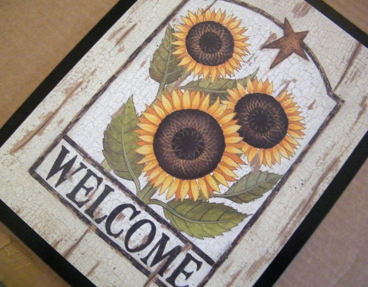 10x13 Sunflower Welcome Country Retro Primitive Kitchen