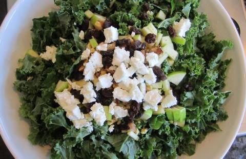 Kale Feta, Raisins, Apples, and Almond Salad | I usually use raspberry ...