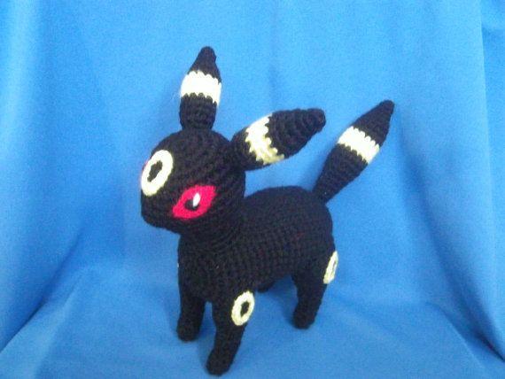 Amigurumi Umbreon crocheted Pokemon Made to by HowToOwnACorner, $28.99