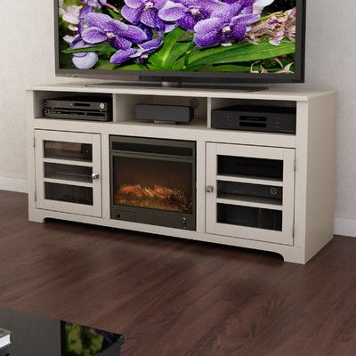 wayfair white tv stand with a built in fireplace and open