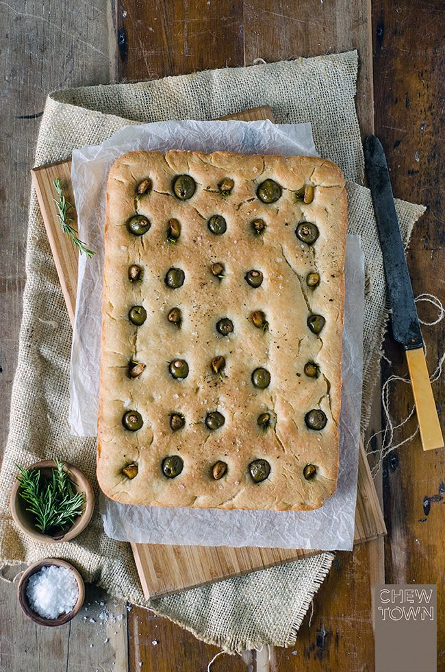 Roast Garlic and Olive Focaccia Recipe | Chew Town Food Blog