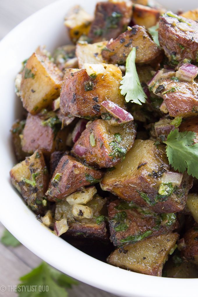Herbed Roasted Potato Salad: red potatoes, canola oil, basil, oregano ...